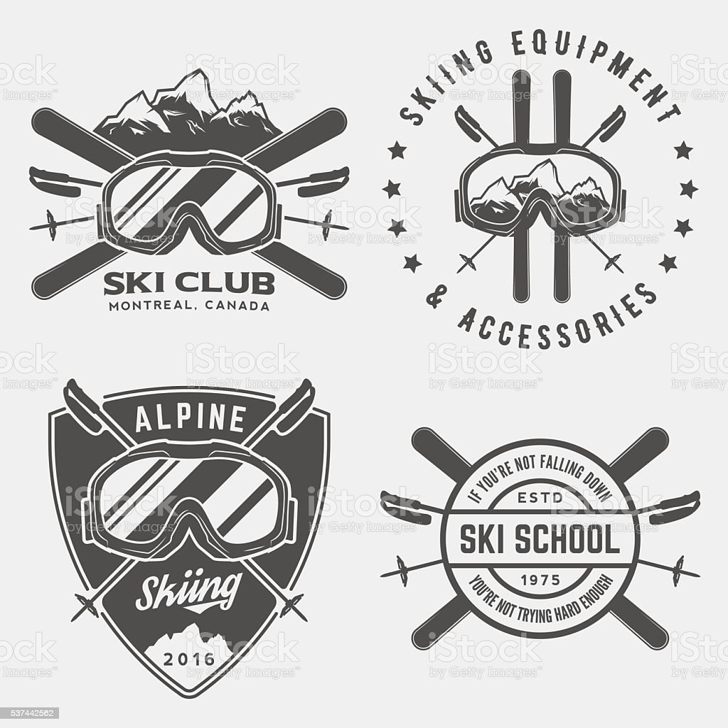 vector set of skiing logos, emblems and design elements vector art illustration