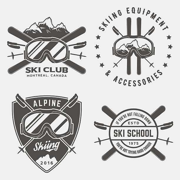 illustrazioni stock, clip art, cartoni animati e icone di tendenza di vettoriale gruppo di sci loghi, emblemi ed elementi di progettazione - negozio sci
