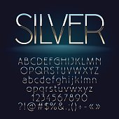 Vector set of slim silver letters, numbers and symbols. Contains graphic style