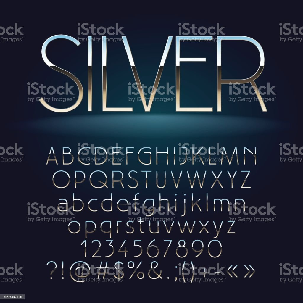 Vector set of slim silver letters, numbers and symbols vector art illustration