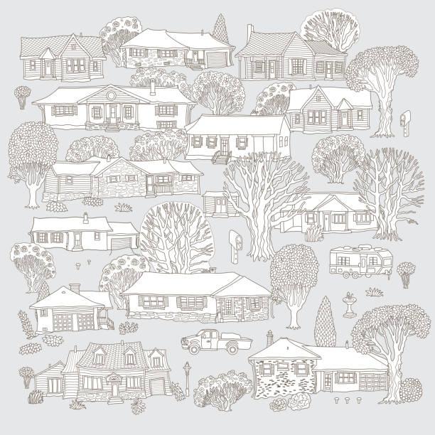 ゲイの背景に孤立した小さな町の家のベクトルセット。ファンタジー都市景観、おとぎ話の家の建物。手描き落書きスケッチ。t シャツプリント。大人、子供のための塗り絵ページ。白黒印� - 都市 モノクロ点のイラスト素材/クリップアート素材/マンガ素材/アイコン素材