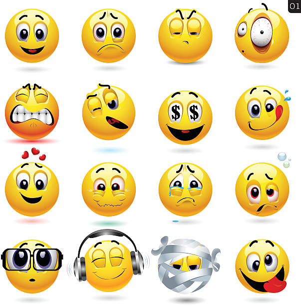 vector set of smiley icons - sad emoji stock illustrations, clip art, cartoons, & icons