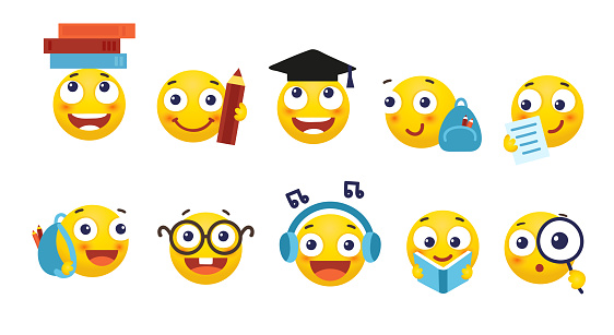 Vector set of smileys for school and education. Round yellow emoticons with different emotions, back to school. Student with a book, a backpack, glasses. Flat cartoon illustration isolated on white background.