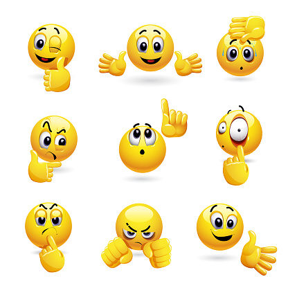 Vector set of smiling ball icons with different face expression.