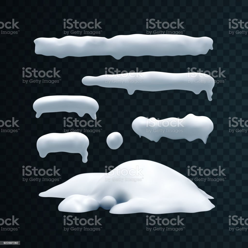 Vector set of snow caps, snowball and snowdrift - arte vettoriale royalty-free di Astratto