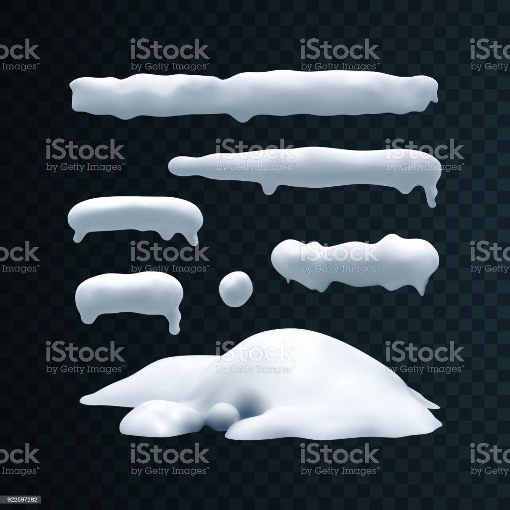 Vector set of snow caps, snowball and snowdrift vector art illustration