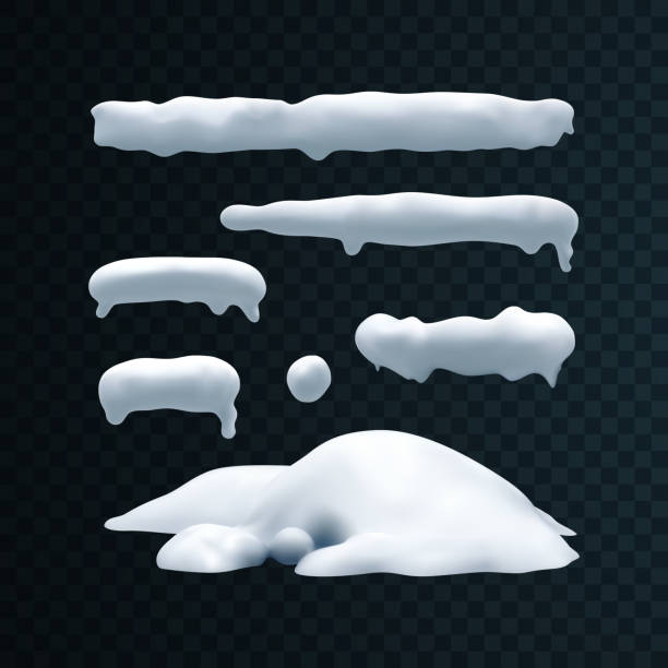 illustrazioni stock, clip art, cartoni animati e icone di tendenza di vector set of snow caps, snowball and snowdrift - snow