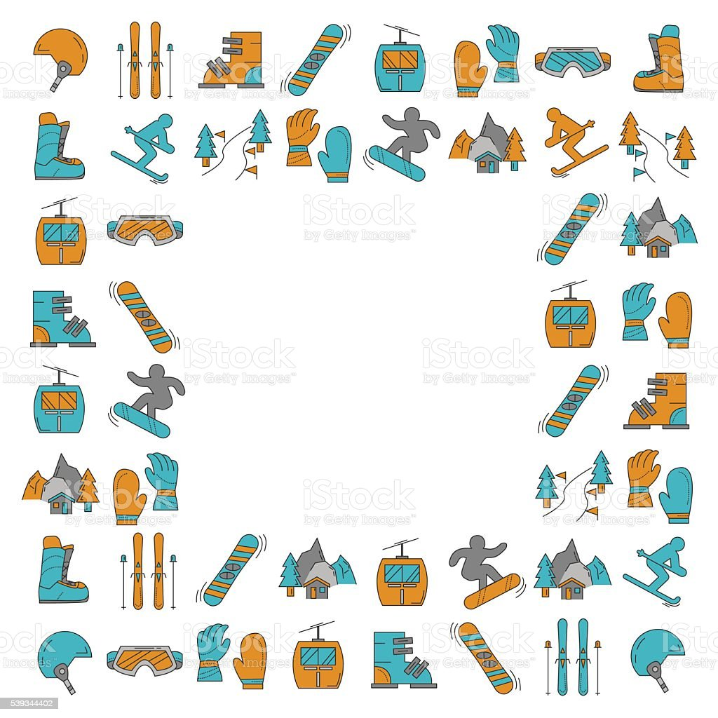 Vector set of snowboard and ski icons vector art illustration