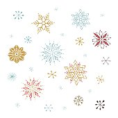 Vector hand drawn isolated elements, set of snowflakes. Simple modern design, scandinavian style. For winter holiday cards, decorations, templates. Part of a large Christmas and New Year collection.