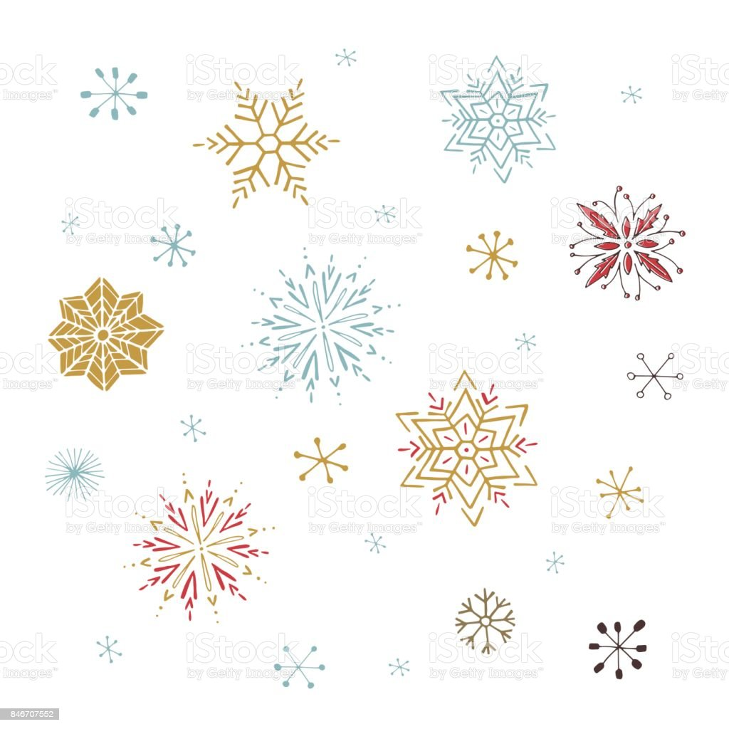 Vector set of snowflakes vector art illustration