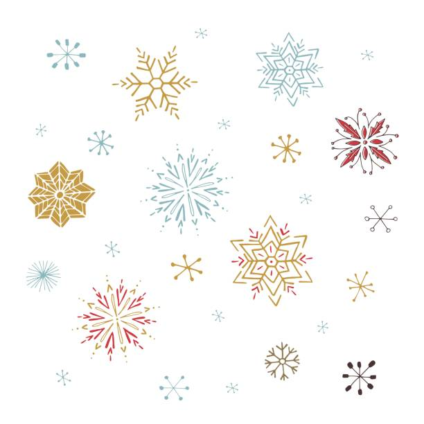 vector set of snowflakes - book clipart stock illustrations