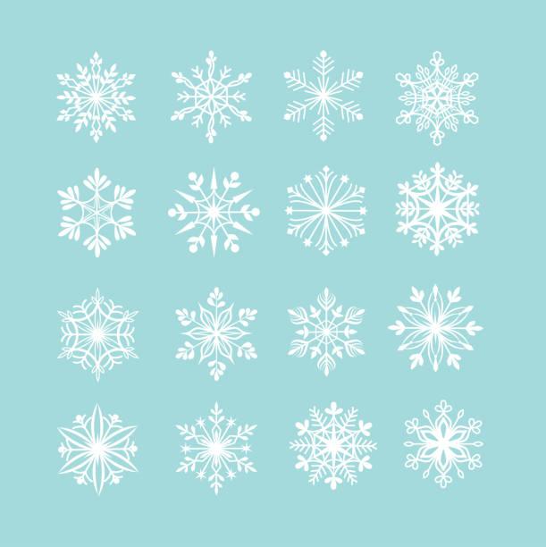 ilustraciones, imágenes clip art, dibujos animados e iconos de stock de vector conjunto de snowflakes - snowflakes