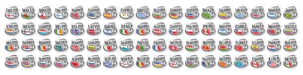 stockillustraties, clipart, cartoons en iconen met vectorset van voetbalpictogrammen - internationale voetbal