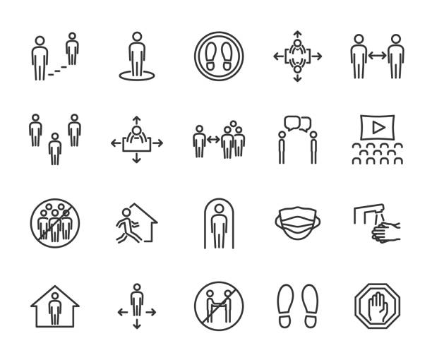 Vector set of social distance line icons. Contains icons safe distance, self-isolation, avoiding crowds, stay home, talking at a distance, safe workplace, and more. Pixel perfect. Vector set of social distance line icons. Contains icons safe distance, self-isolation, avoiding crowds, stay home, talking at a distance, safe workplace, and more. Pixel perfect. distant stock illustrations