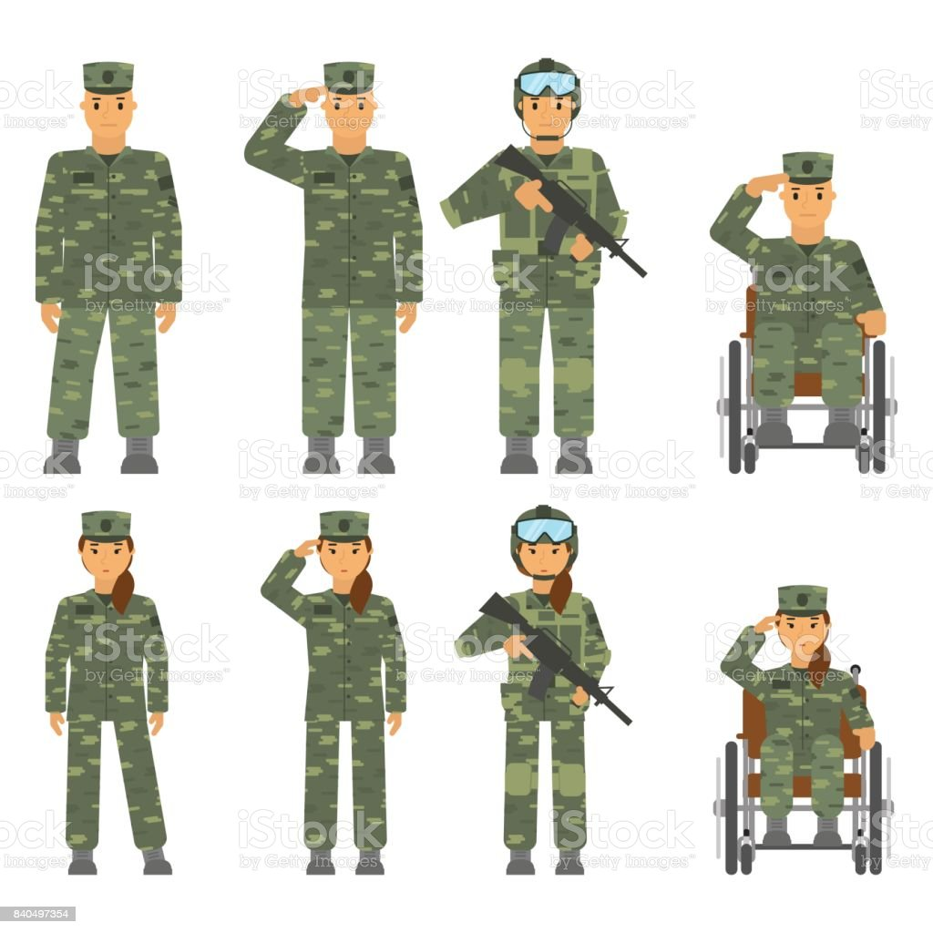 向量集的士兵的人,孤立的白色背景上的女人 - 免版稅一個人圖庫向量圖形
