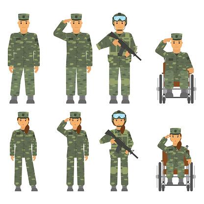 向量集的士兵的人孤立的白色背景上的女人向量圖形及更多一個人圖片
