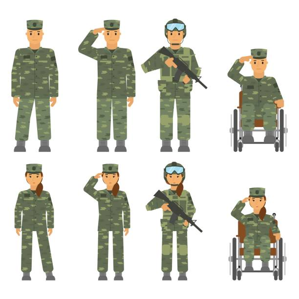 Vector set of soldier man, woman isolated on white background vector art illustration