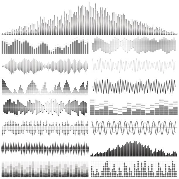 vector set of sound waves. audio equalizer. sound & audio waves - sound wave stock illustrations, clip art, cartoons, & icons