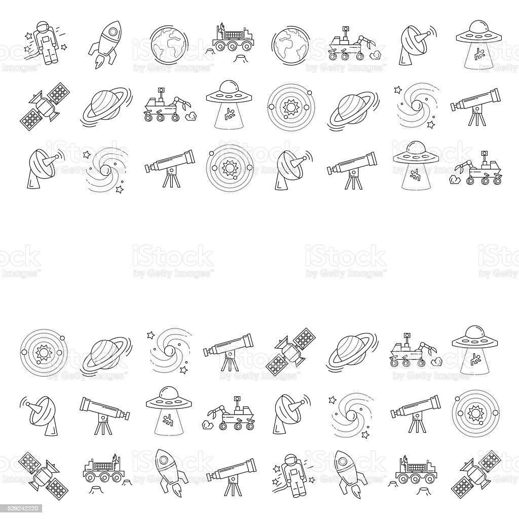 Vetor Conjunto de espaço e astronomia ícones ilustração de vetor conjunto de espaço e astronomia ícones e mais banco de imagens de alienígena royalty-free