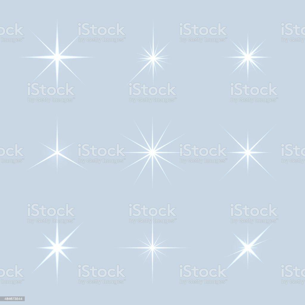 Vector set of sparkle lights stars vector art illustration