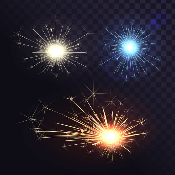 Vector set of sparks, Bengal lights, welding sparks Isolated set of different sparks on a transparent background, welding sparks, bengal lights sparkler stock illustrations