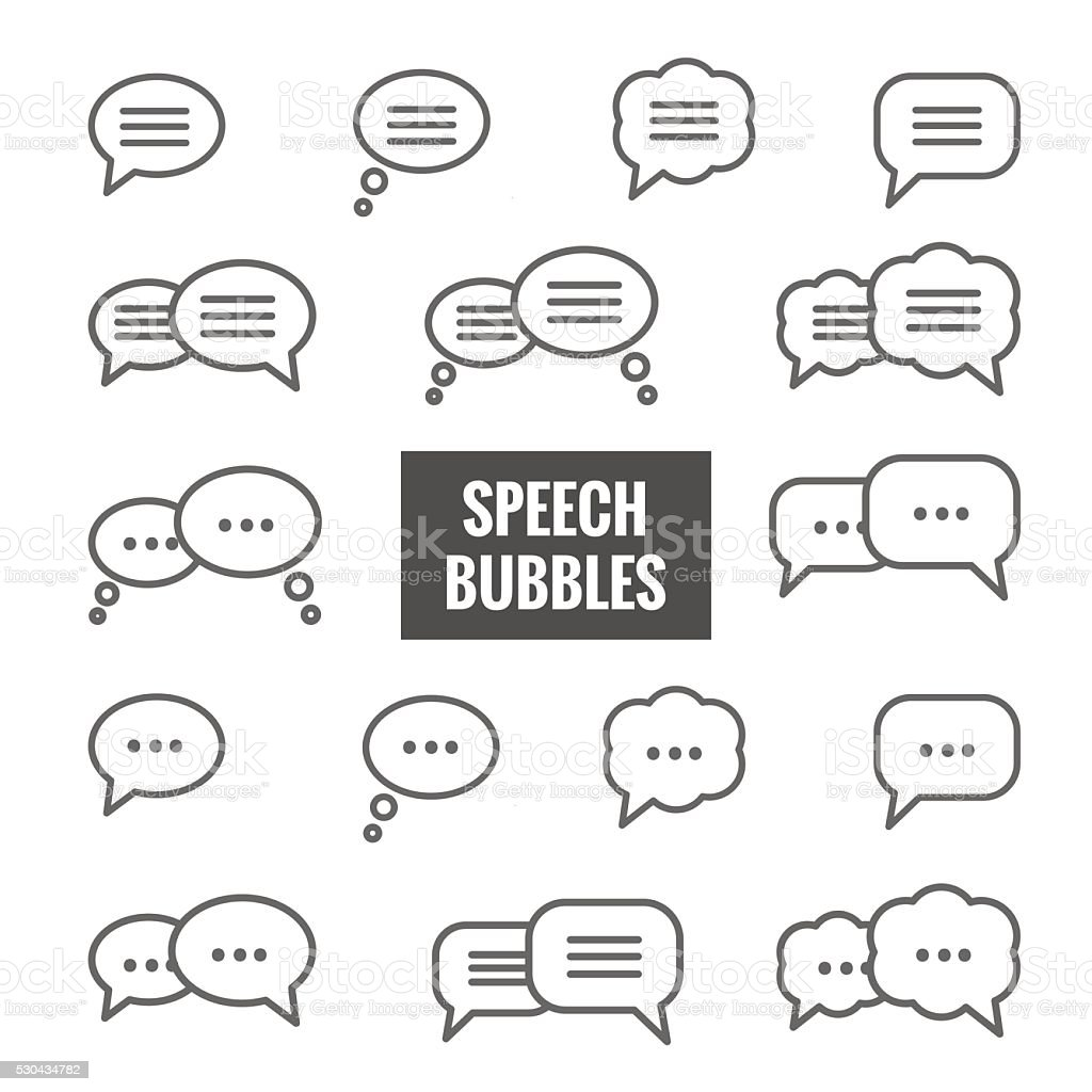 Vector set of speech bubble linear icons vector art illustration