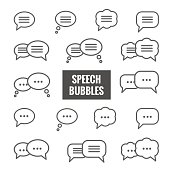 Vector set of speech bubble linear icons
