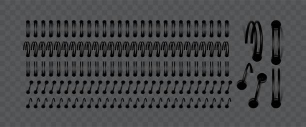 illustrations, cliparts, dessins animés et icônes de ensemble vectoriel de spirales pour lier les feuilles d'ordinateur portable - ellen page