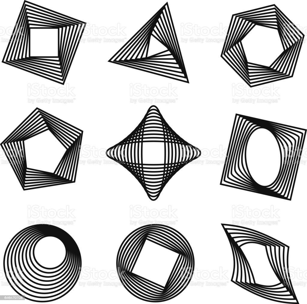 Vector set of spirograph style geometric shapes vector art illustration