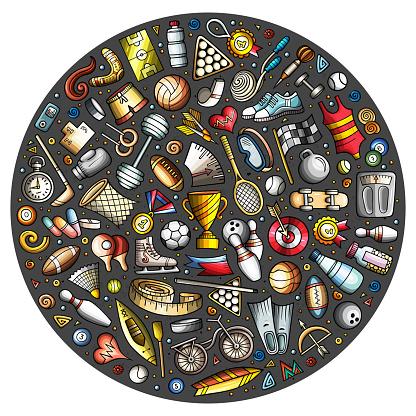 Vector set of Sport cartoon doodle objects