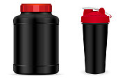 Vector set of sport nutrition container templates with red caps isolated on white background. Realistic black plastic jar, shaker and drink bottles.