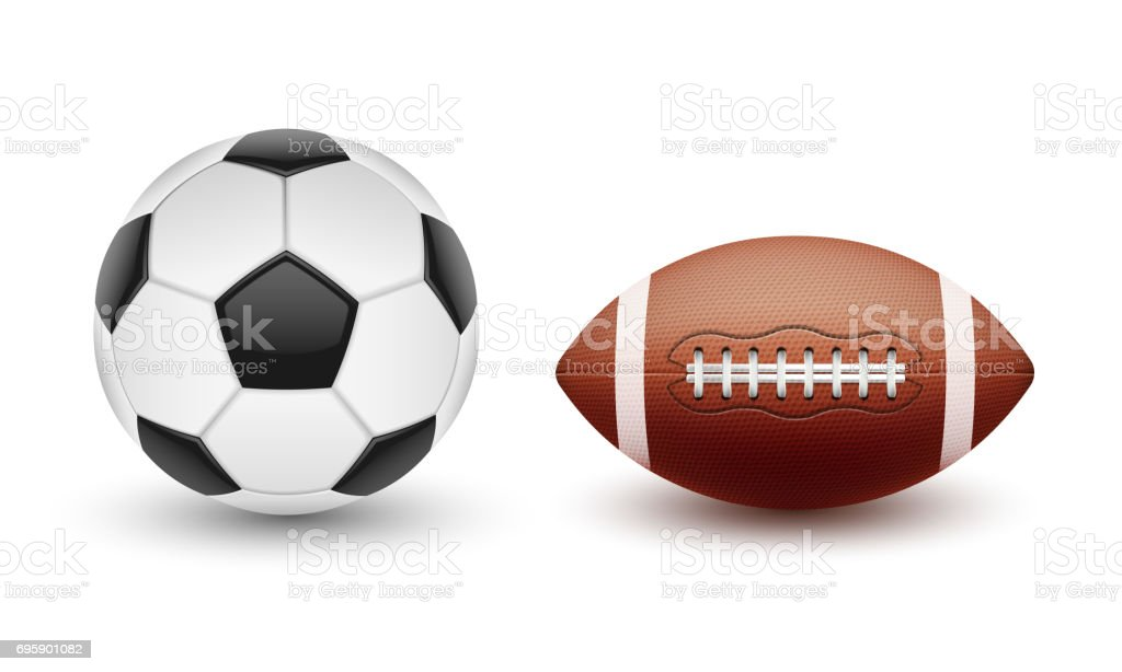 Vector set of sports balls, balls for soccer and American football in a realistic style vector art illustration
