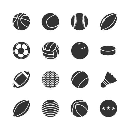 Vector set of sports balls icons.