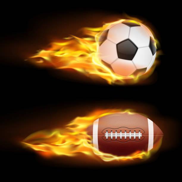 bildbanksillustrationer, clip art samt tecknat material och ikoner med vector uppsättning sport brinnande bollar, bollar för fotboll och amerikansk fotboll på brand i en realistisk stil - fotboll eld