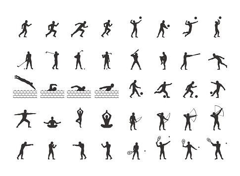 Vector set of sports figures athletes.