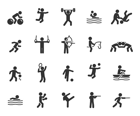 Vector set of sports flat icons. Contains icons weightlifting, basketball, taekwondo, handball, judo, fencing, volleyball, cycling, wrestling and more. Pixel perfect.