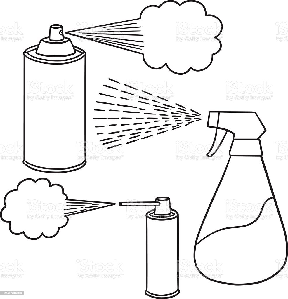 vector set of spray can and bottle vector art illustration