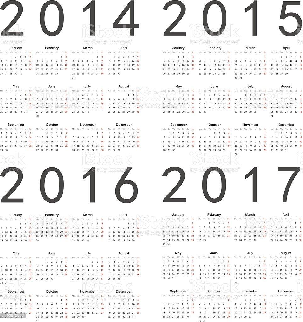 Vector set of square 2014-2017 year calendars vector art illustration