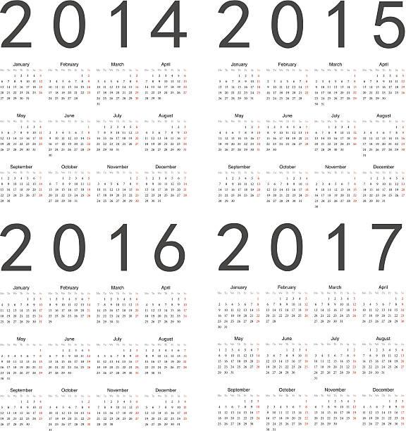 vektor-satz von square 2014-2017 jahr kalender - 2015 stock-grafiken, -clipart, -cartoons und -symbole