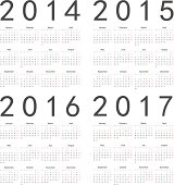 Vector set of square 2014-2017 year calendars