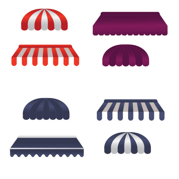 Vector set of square and round awnings Vector set of square and round awnings. 4 tipes awning stock illustrations
