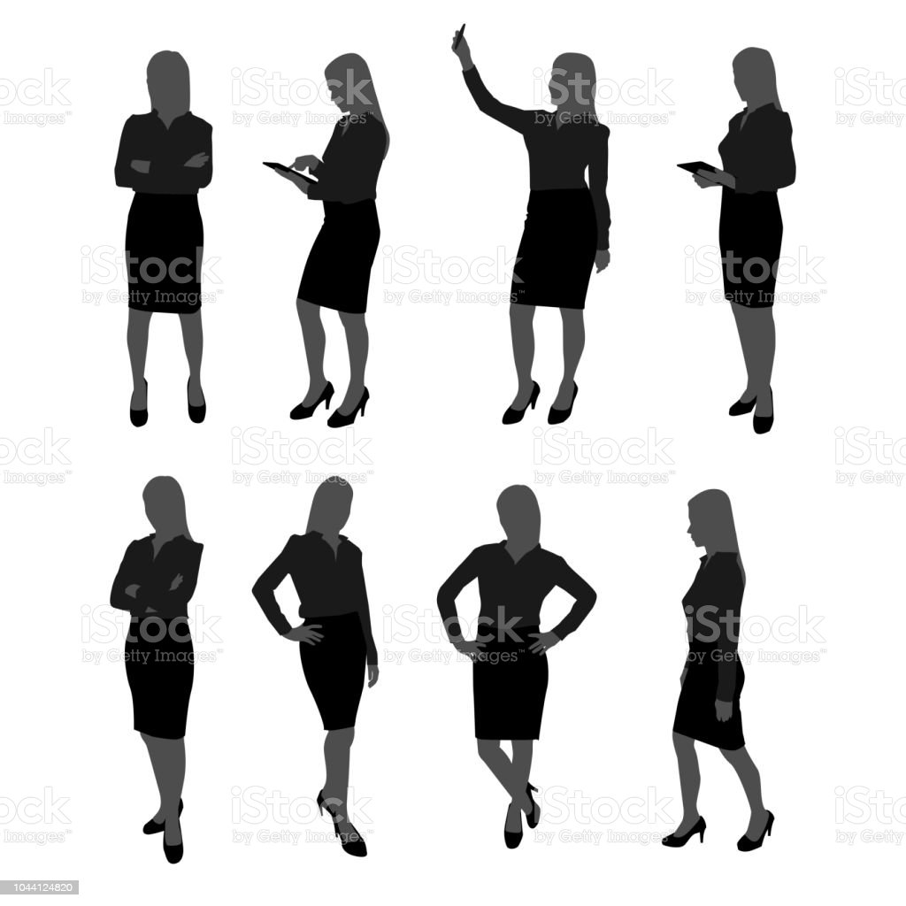 vector set of stand businesswoman silhouette. businesswoman with different action such as using mobile phone , posing , working with tablet vector art illustration