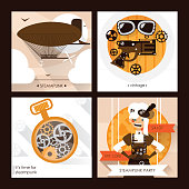 Vector set of steampunk square cards with steam punk accessories as goggles, dirigible and watches and woman character.