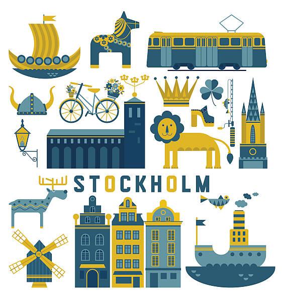 bildbanksillustrationer, clip art samt tecknat material och ikoner med vector set of stockholm - älg sverige