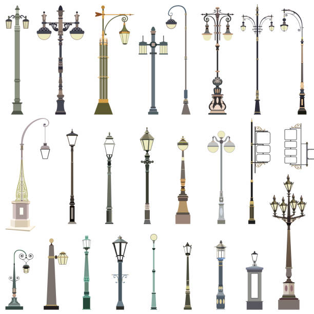 stockillustraties, clipart, cartoons en iconen met vector set lantaarnpalen - straatlamp