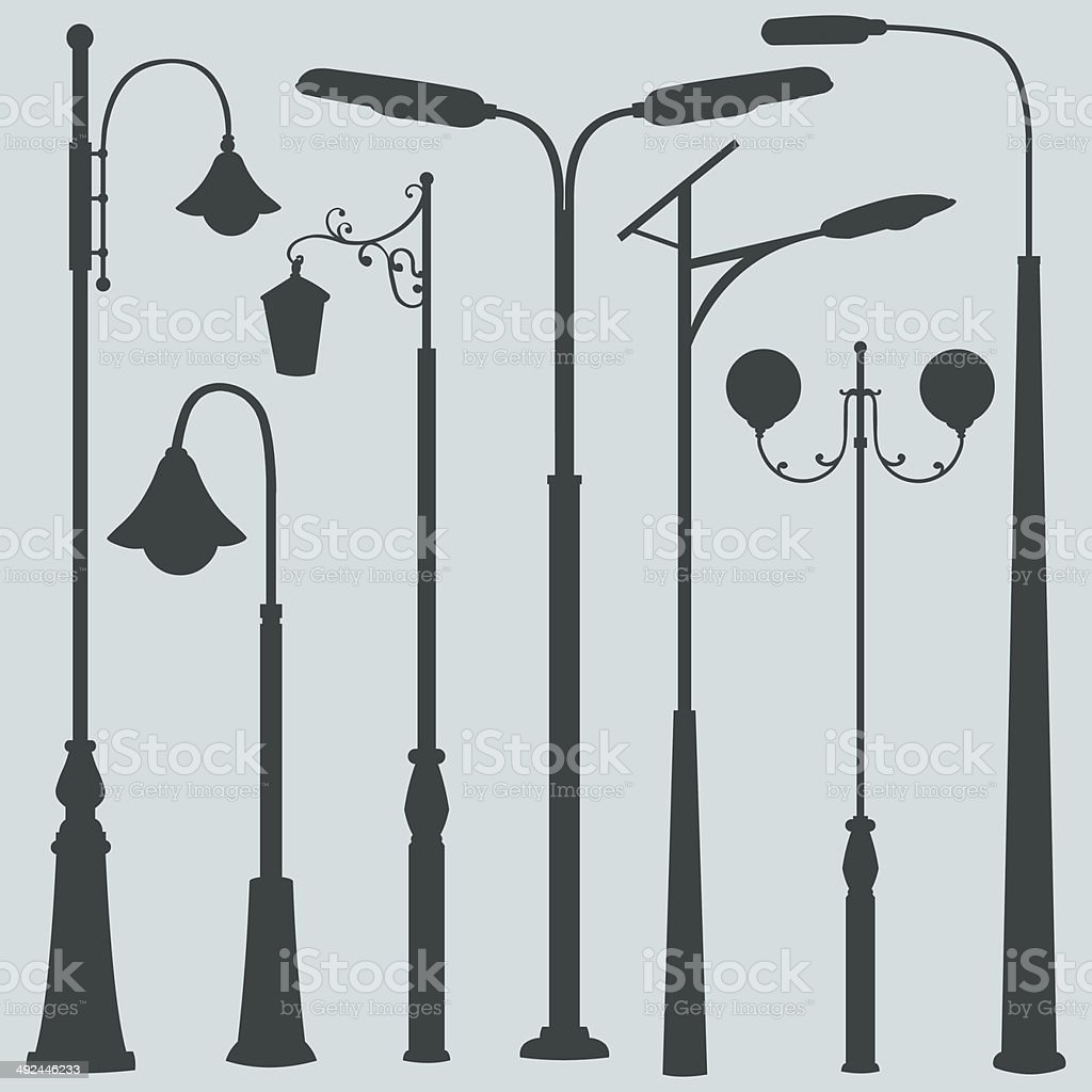 Vector Set of Street Lights Silhouettes vector art illustration