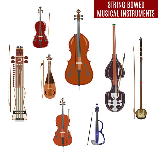 vector set of string bowed musical instruments - instrument strunowy stock illustrations