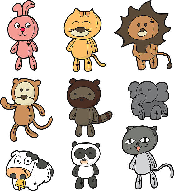 vector set of stuffed animals vector set of stuffed animals stuffed stock illustrations