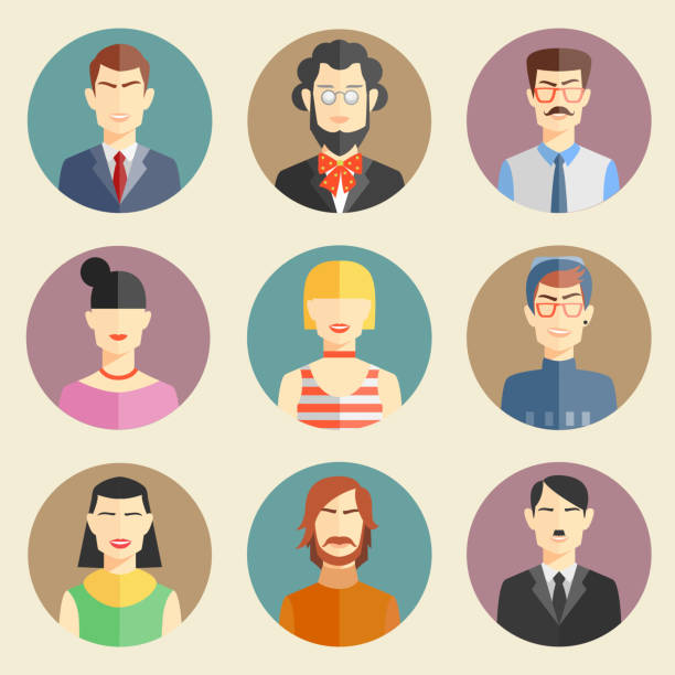 vector set of stylish handsome male characters - business casual fashion stock illustrations