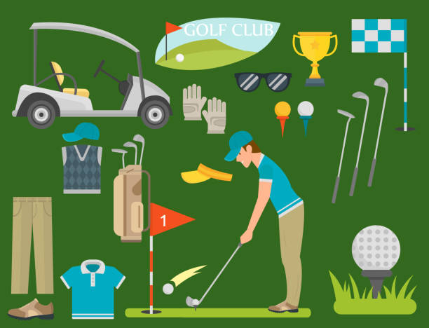 ilustrações de stock, clip art, desenhos animados e ícones de vector set of stylized golf icons hobby equipment collection cart golfer player sport symbols - calçado com pitões